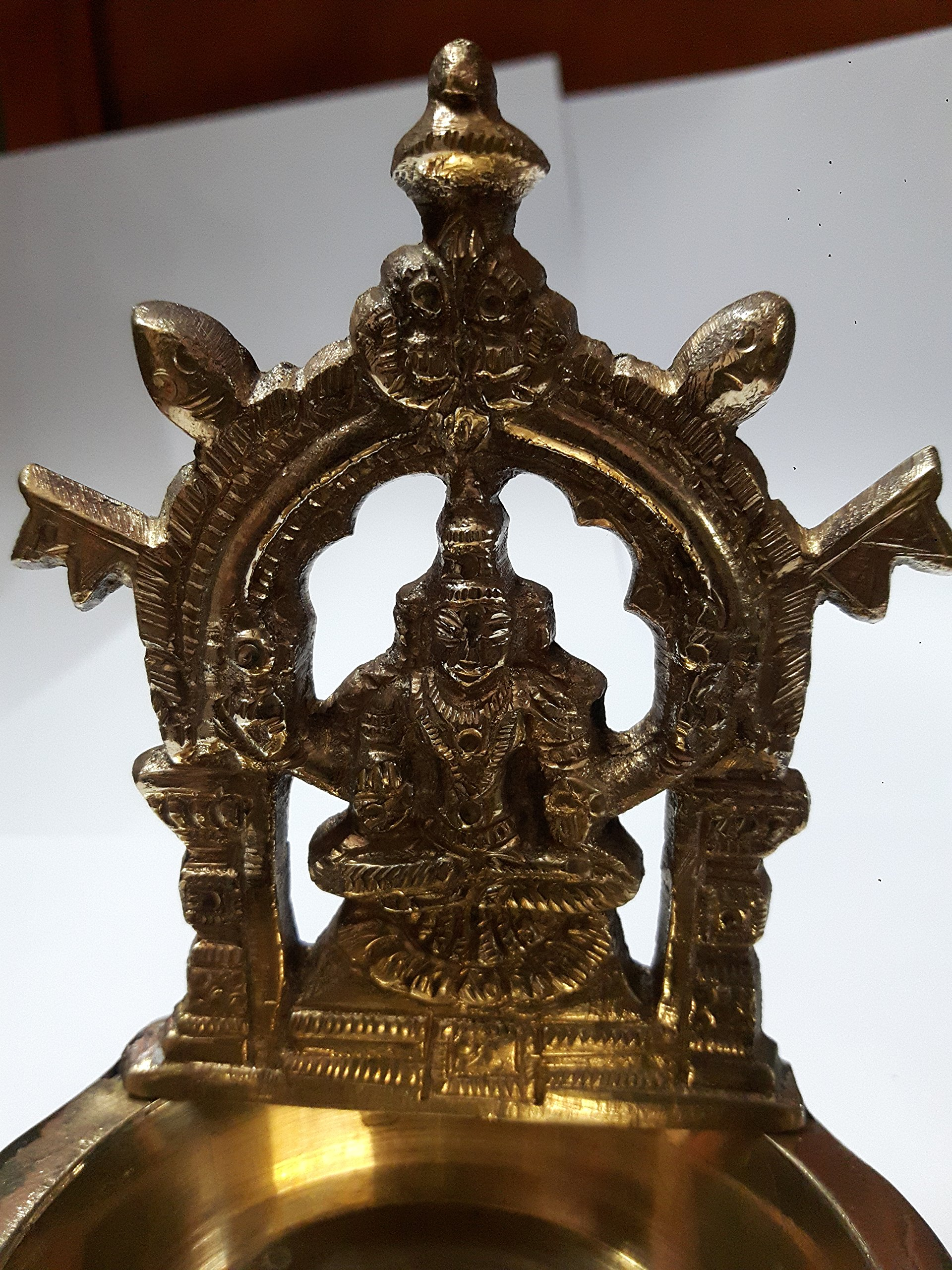 Mookambigai Lamp India Brass Diya Deepak Akhand Jyot Kuber Hindu Temple Havan Puja Religious Oil Lamp (11 cms Height) by RiteClick (Image #3)