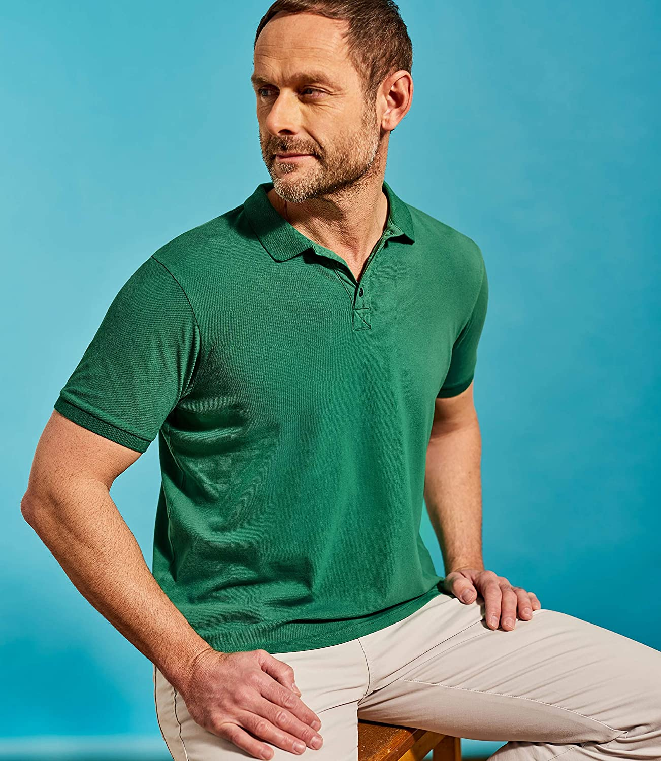 Wool Overs Mens Slim Short Sleeve Collared Polo Shirt Top
