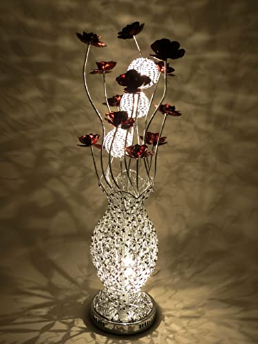 Silver wire aluminium metal table lamp with bloomed coffee copper silver wire aluminium metal table lamp with bloomed coffee copper brown flowers greentooth Images