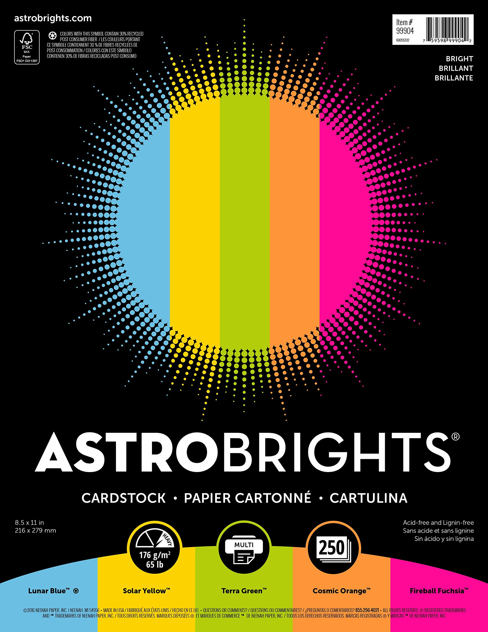 Astrobrights Colored Cardstock, 8.5'' x 11'', 65 lb/176 gsm, ''Bright'' 5-Color Assortment, 250 Sheets (99904)