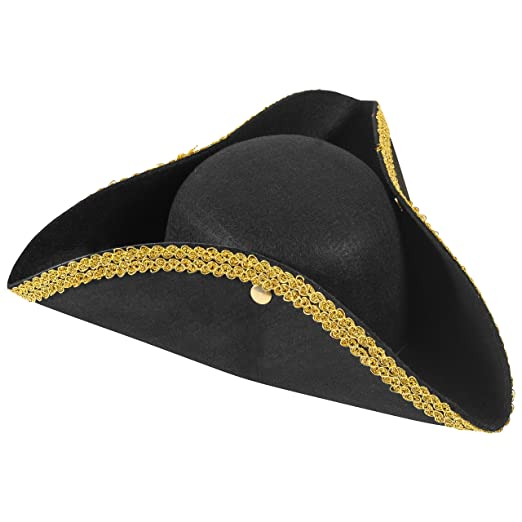 e70587bc24f Amazon.com  Revolutionary War Hat - Colonial Hat - Tricorn Hat -  Revolutionary Costumes Funny Party Hats  Clothing