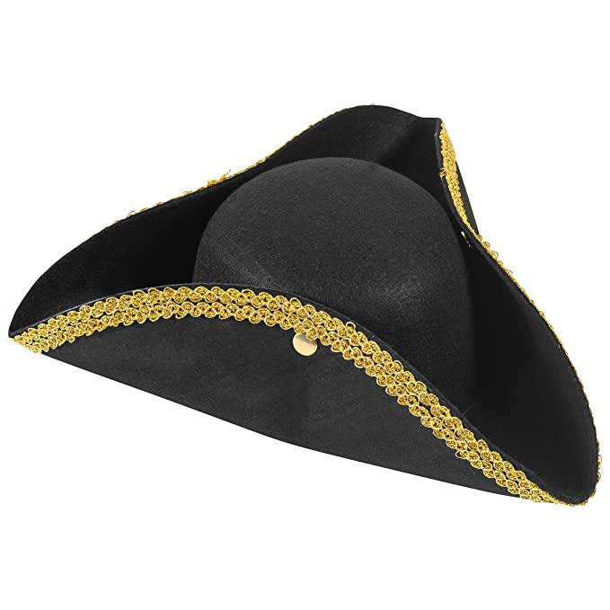 Funny Party Hats Colonial Style Tricorn Hat - Revolutionary War Deluxe  Colonial Tricorn Hat