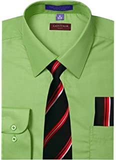 0b5ae47e2 Guytalk Mens Dress Shirt with Matching Tie and Handkerchief(30 Colors,  XS-5XL