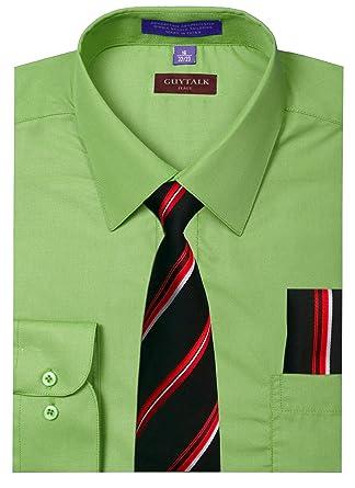 3cd3288e3521 Guytalk Mens Dress Shirt with Matching Tie and Handkerchief(30 ...