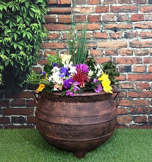 Brujas de jardín macetero de caldero de tamaño grande 38, 1 cm efecto bronce: Amazon.es: Hogar