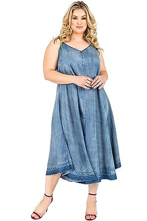74a2de1c985599 Standards & Practices Plus Size Women's Denim Tencel Raw Hem Maxi Slip Dress  ...