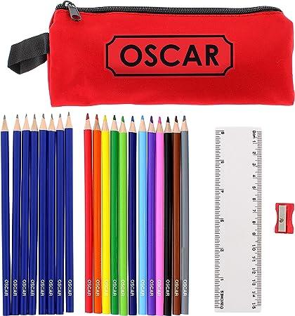 Kiddiewinkle - Juego de lápices Personalizados y Estuche de Color Rojo, Regalo Personalizado para la Escuela, Estuches de lápices para niños para la Escuela, lápices Personalizados para niños: Amazon.es: Hogar