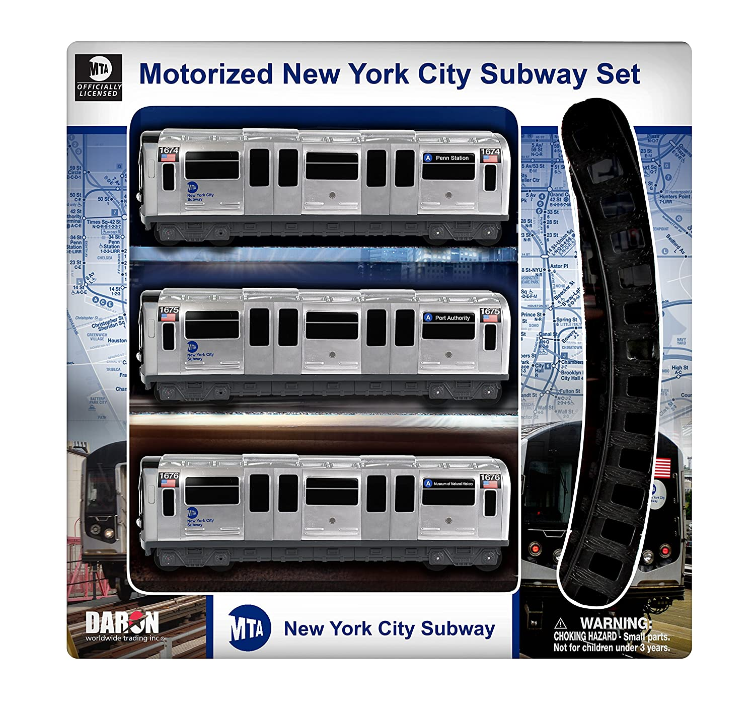amazon com daron mta motorized nyc subway train set with track