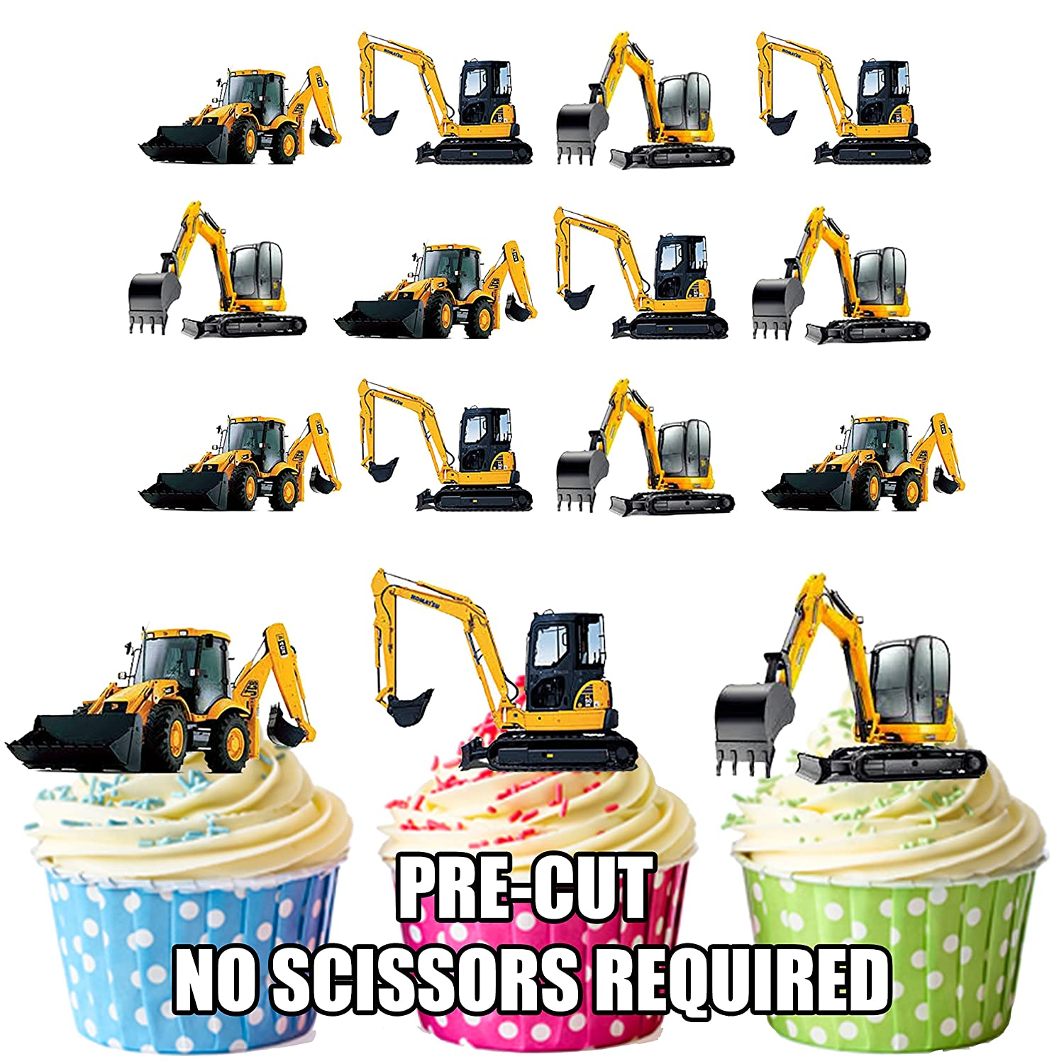 Diggers Construction 36 Party Pack Mix 36 Stand Up Premium Card Cake Toppers