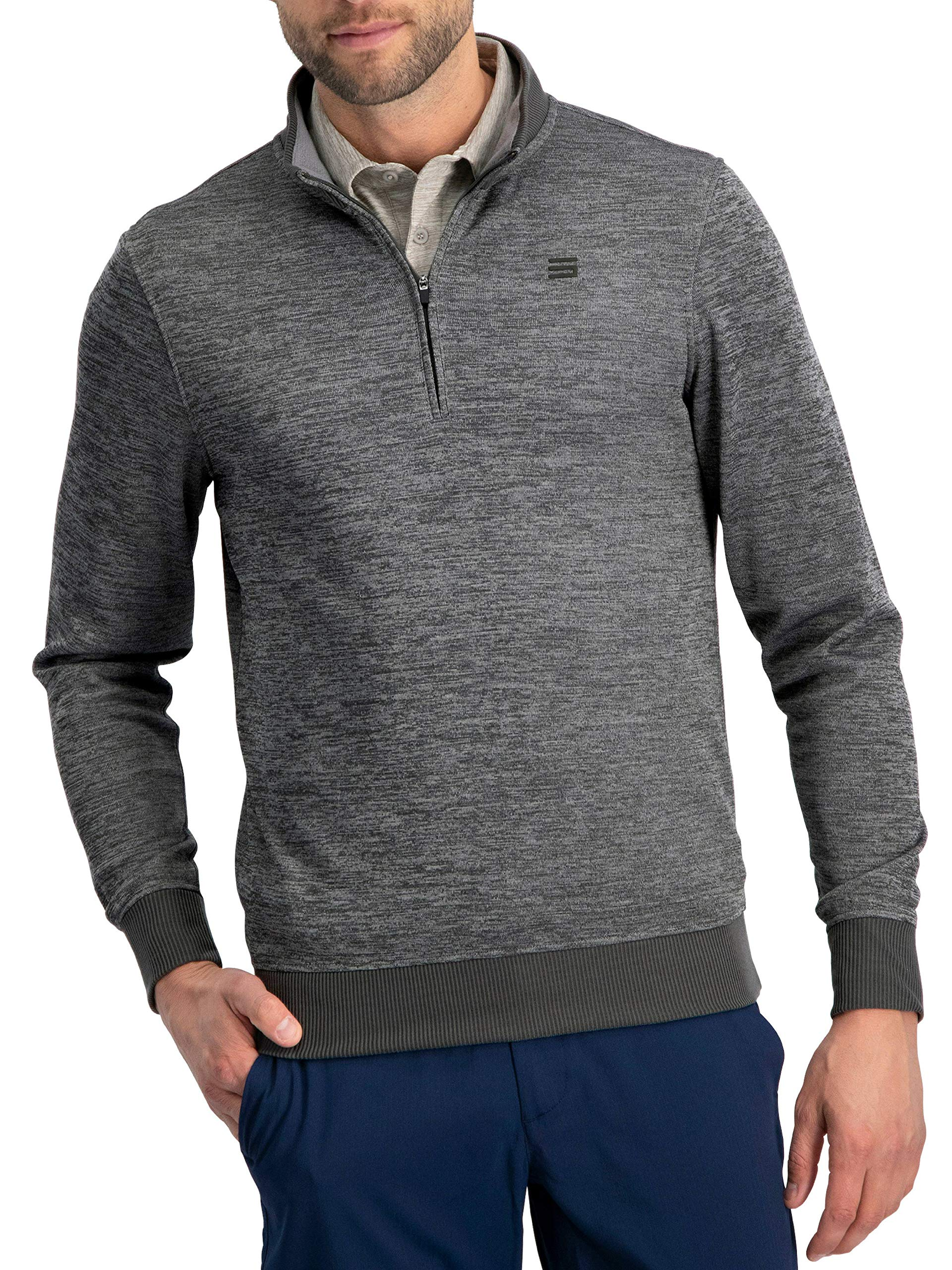 Dry Fit Pullover Sweaters for Men - Quarter Zip Fleece Golf Jacket - Tailored Fit Charcoal by Three Sixty Six