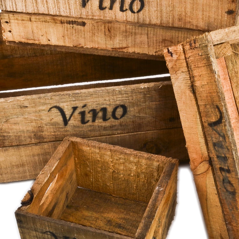 Dadeldo Lot de 5/caisses en Bois Motif Vino Caisses de vin Style Vintage pour Maison de Campagne ou Une d/éco Coloniale