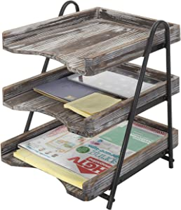 MyGift 3-Tier Torched Wood Desktop Document Tray, Office File Folder Rack