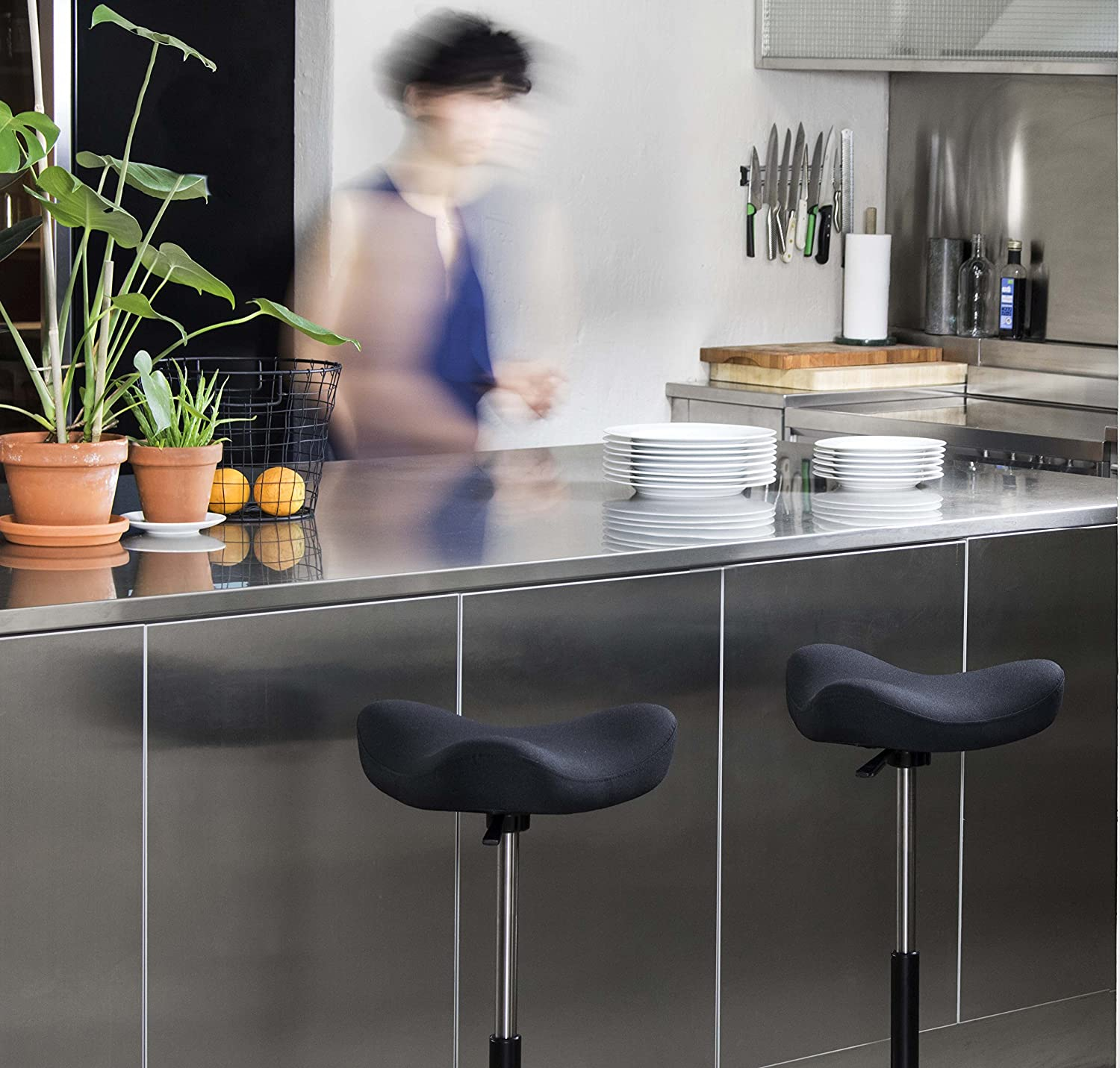 Varier Move - Office Chair for Height Adjustable Desks, Standing Support Stool - Black Wood Base and Black Quality Fabric