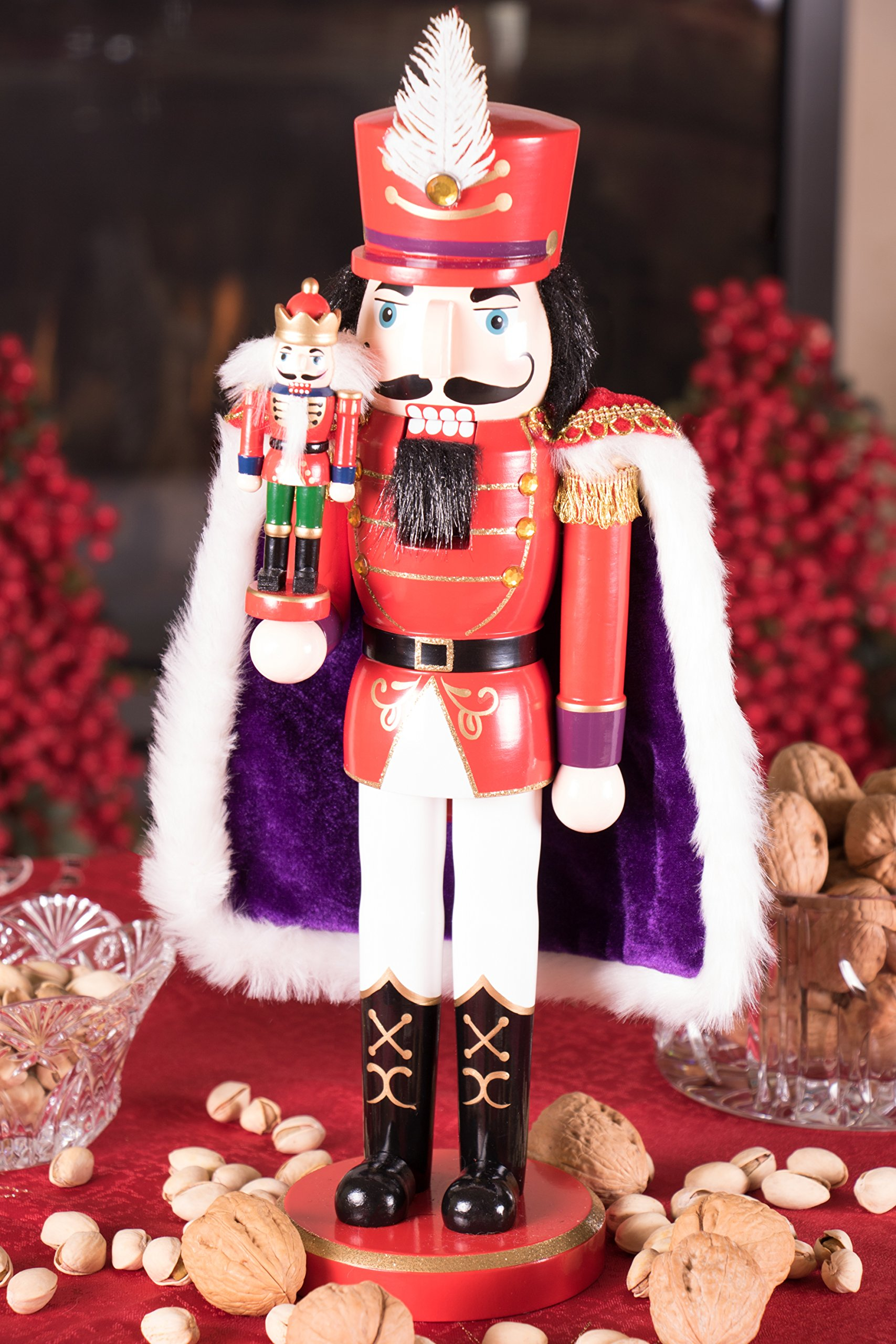 Clever Creations Red Prince Wooden Nutcracker Wearing Purple Cape Holding Toy Nutcracker Gift | Festive Decor | Perfect for Shelves and Tables | 100% Wood | 14'' Tall by Clever Creations (Image #5)