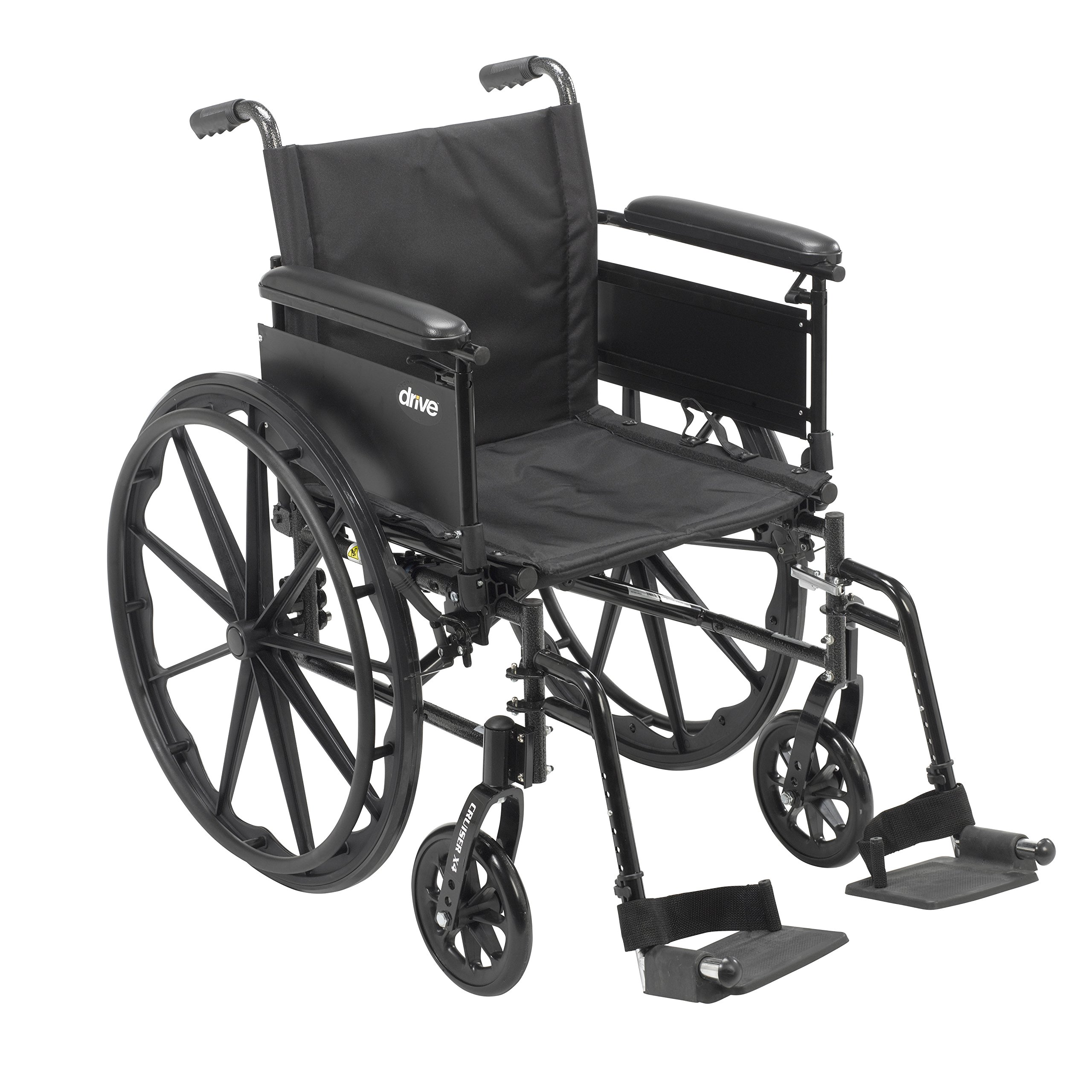 Drive Medical Cruiser X4 Lightweight Dual Axle Wheelchair with Adjustable Detachable Arms, Full Arms, Swing Away Footrests, 18'' Seat