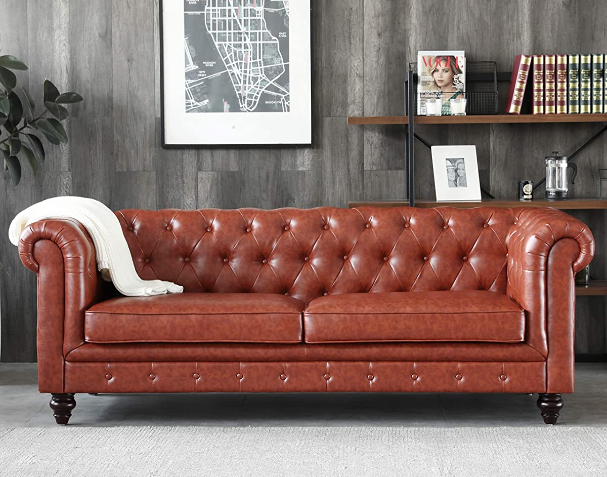 Victoria Chesterfield Leather Sofa,Tufted Classic Luxury Romance Set, Brown
