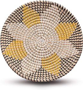Seagrass Wall Decor – Handmade Boho Hanging Wall Basket, Woven Fruit Basket Bowl, Home Living Room Wall Decor, Decorative Wicker Wall Basket, Woven African Flat Basket (Yellow Flower)