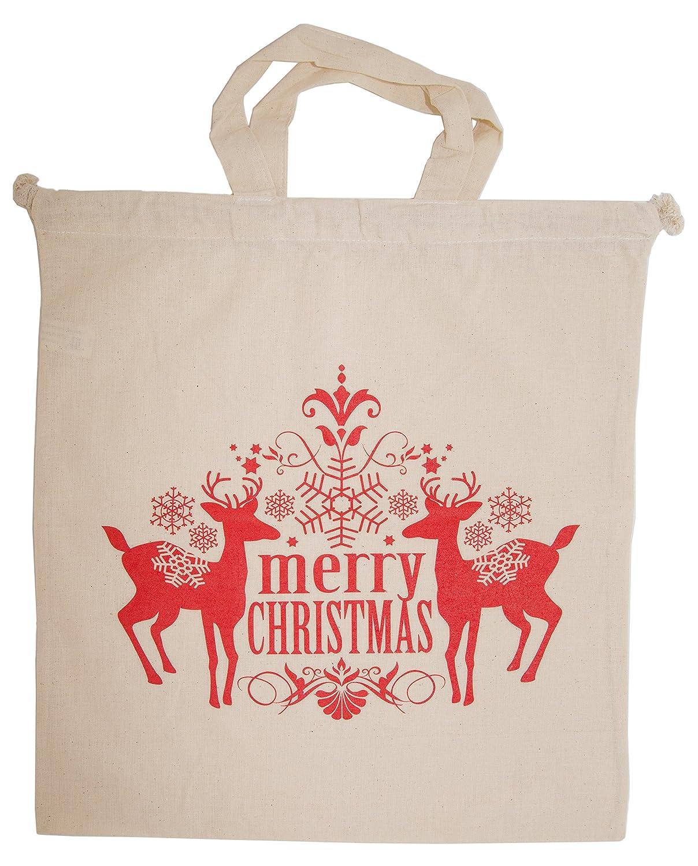 Sacchetto regalo tessuto cotone Renna Natale Merry Christmas sacchetto di stoffa A. Dürninger & Co. GmbH