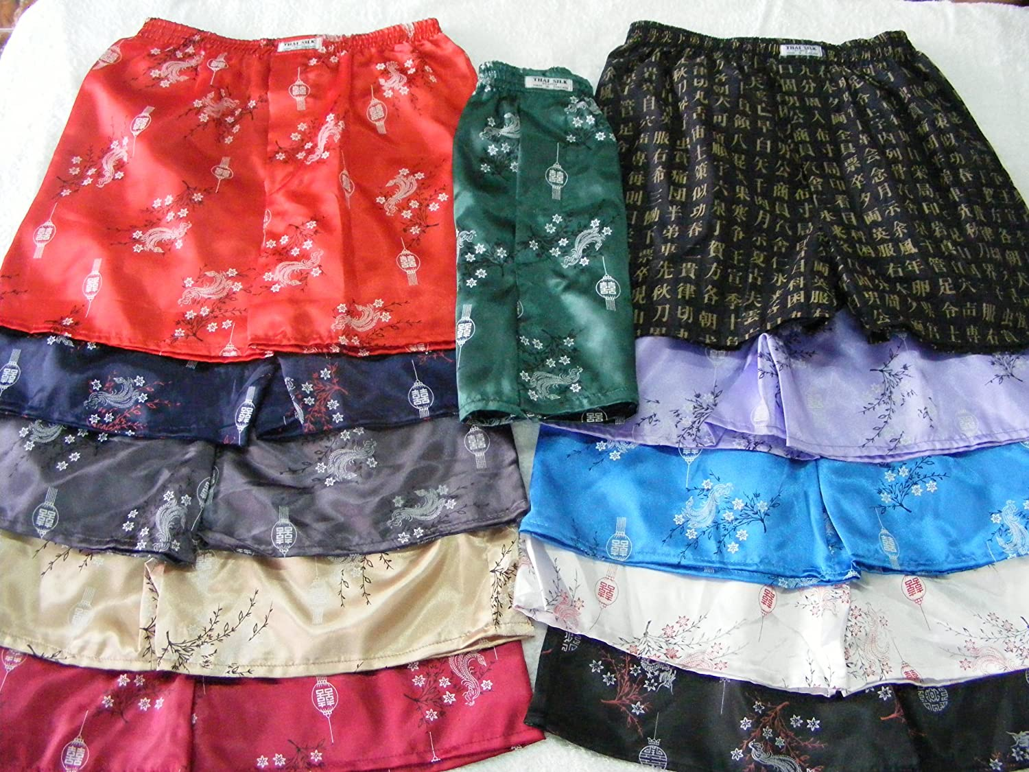 100/% Thai Silk Boxers Red with Chinese Characters SIZE 25-27
