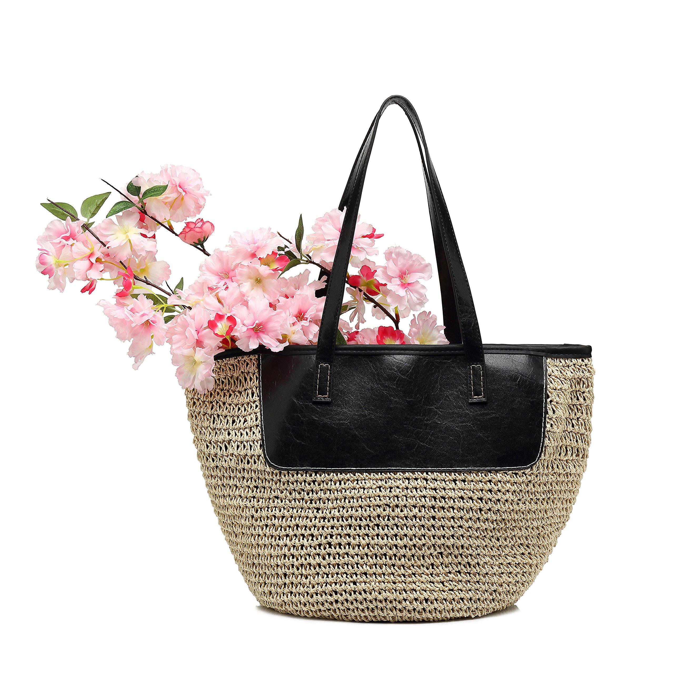 Luolin Straw Summer Bags Beach Tote Bag Weave Handbags Handmade for Women Designer with Zipper
