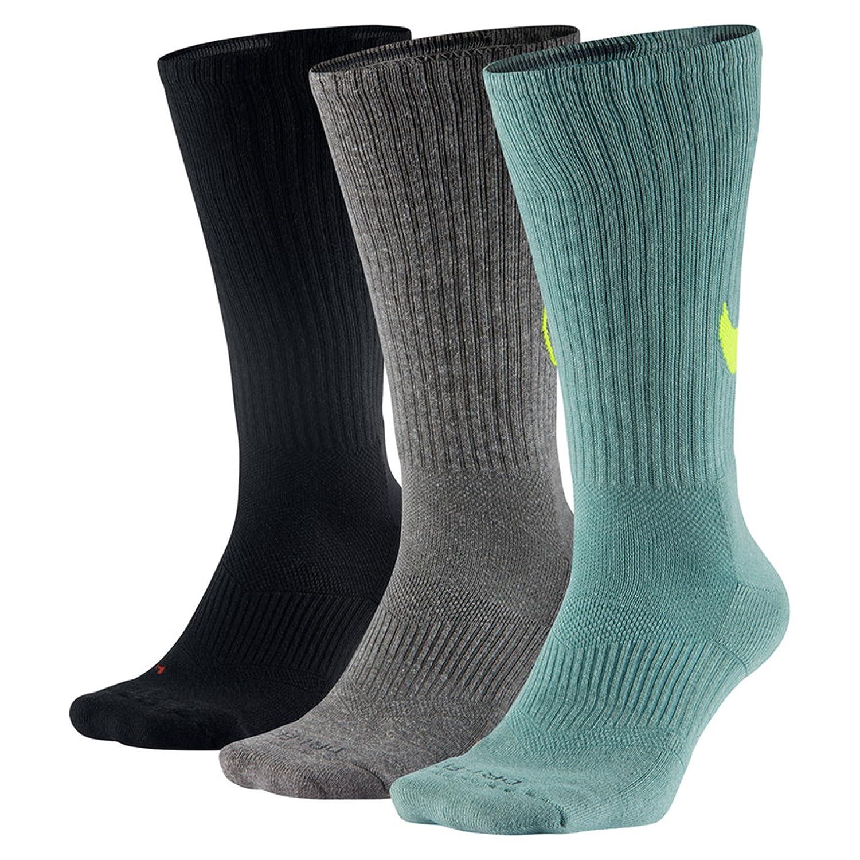 ナイキ(NIKE) 3P DRI-FIT フライライズ クルーソックス SX4862 B01D3QWJ38 Large (Mens Shoe size 8-12, women 6-10)|Sea Weed Green/Lime/Black/Grey Sea Weed Green/Lime/Black/Grey Large (Mens Shoe size 8-12, women 6-10)