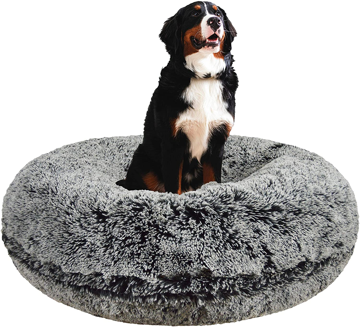 Bessie and Barnie Signature Midnight Frost Luxury Shag Extra Plush Faux Fur Bagel Pet Dog Bed Multiple Sizes