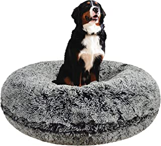 product image for Bessie and Barnie Signature Midnight Frost Luxury Shag Extra Plush Faux Fur Bagel Pet/Dog Bed (Multiple Sizes)