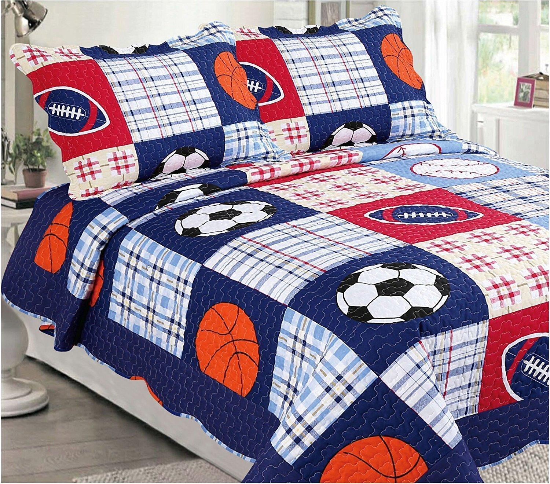Elegant Home Multicolor Blue Red White orange Patchwork Sports Basketball Football Baseball Soccer Design 3 Piece Coverlet Bedspread Quilt for Kids Teens Boys # 26 (Full Size)