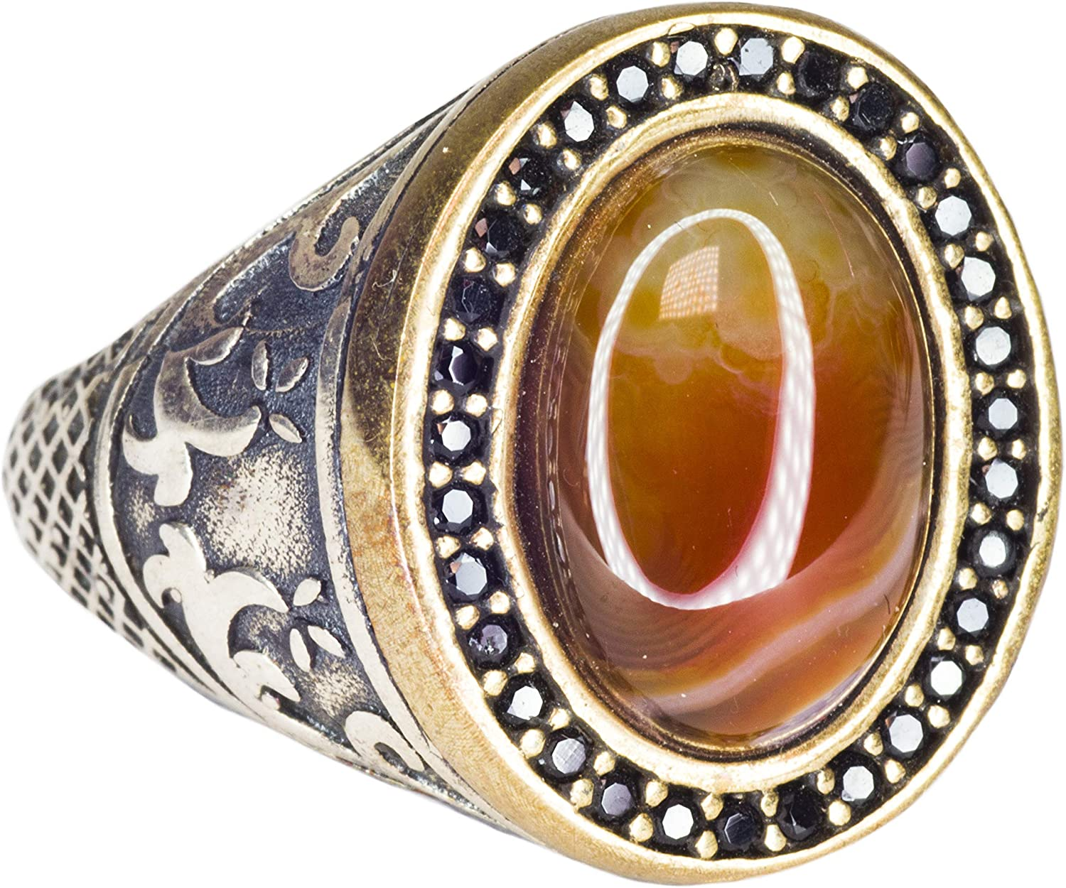 Agate Natural Gemstone Falcon Jewelry Mens Sterling Silver rin