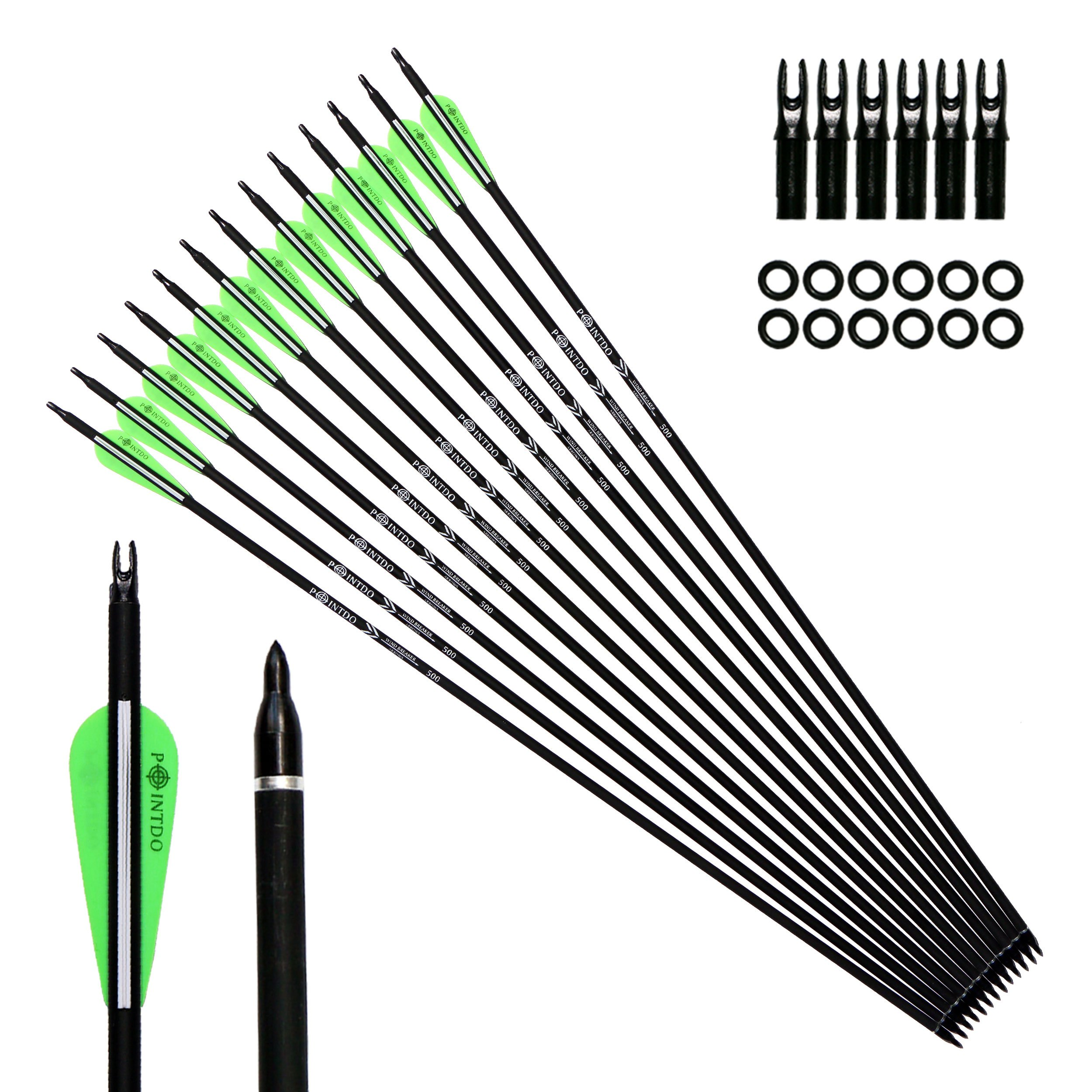 Pointdo 12pcs 30Inch Archery Carbon Arrow Hunting And Practice Targeting Arrow with Replaceable Tips and 3'' Light Vanes For Recurve Bow& Compound Bow