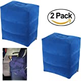 2 PACK! New Inflatable Travel Foot Leg Rest Pillow for Kids,Children During Airplanes Flight and Being kids Bed to Lay Down or Sleep on Long Flights from Mauvana - 2 pcs Blue