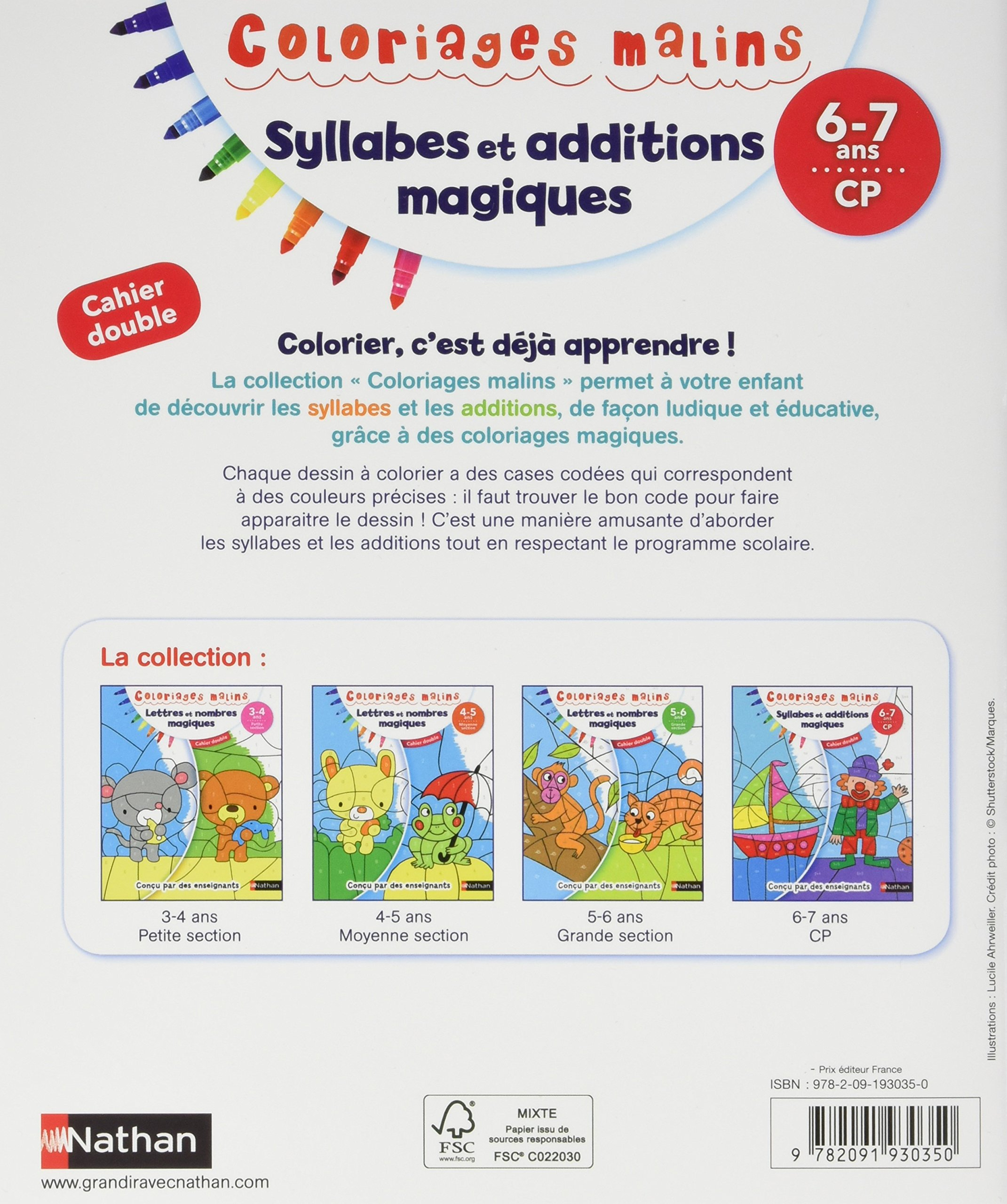 Coloriage Cp Syllabes.Syllabes Et Additions Magiques 6 7 Ans Cp Cahier Double