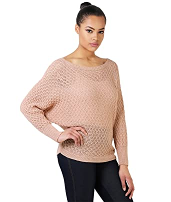 972e261d83075b KRISP 4017-PNK-OS  Lurex Batwing Jumper Pink  Amazon.co.uk  Clothing