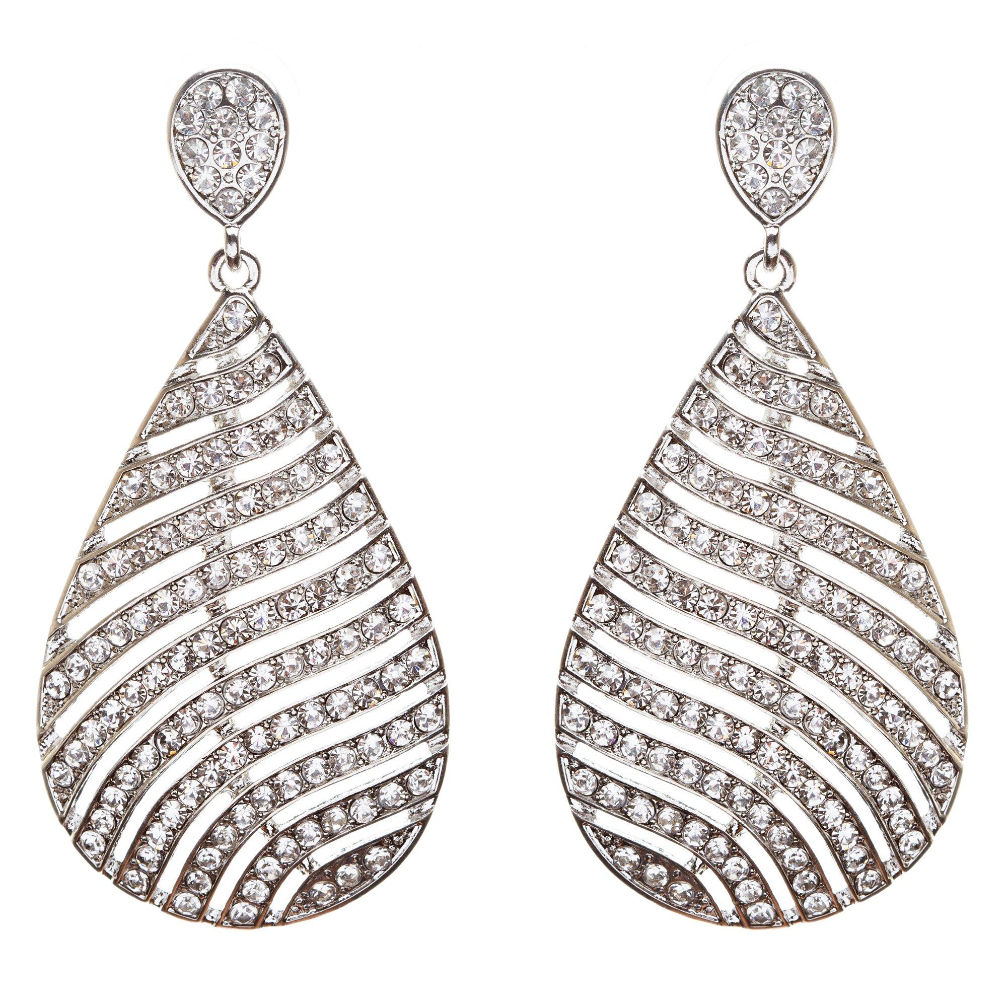 ACCESSORIESFOREVER Women Modern Fashion Crystal Rhinestone Stunning Leaf Design Dangle Earrings E729 SLVR