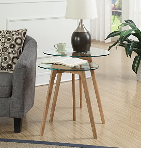 Convenience Concepts Clearview Accent End Table, Natural Glass