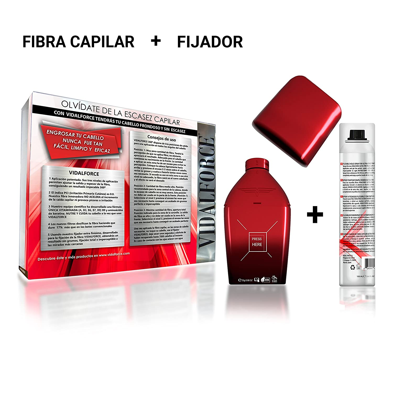 VidalForce Fibras Capilares Naturales Castaño Medio 25 gr Disimula la caida del cabello + Fijador fibra: Amazon.es: Belleza