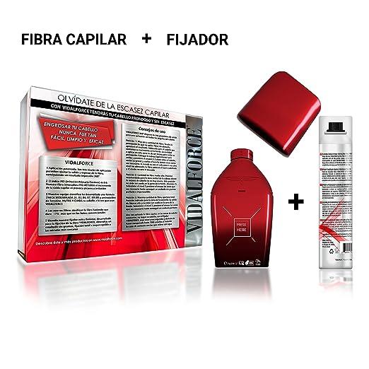 VidalForce Fibras Capilares Naturales Rubio Oscuro 25 gr Engrosador y voluminizador de cabello + Fijador fibra: Amazon.es: Belleza