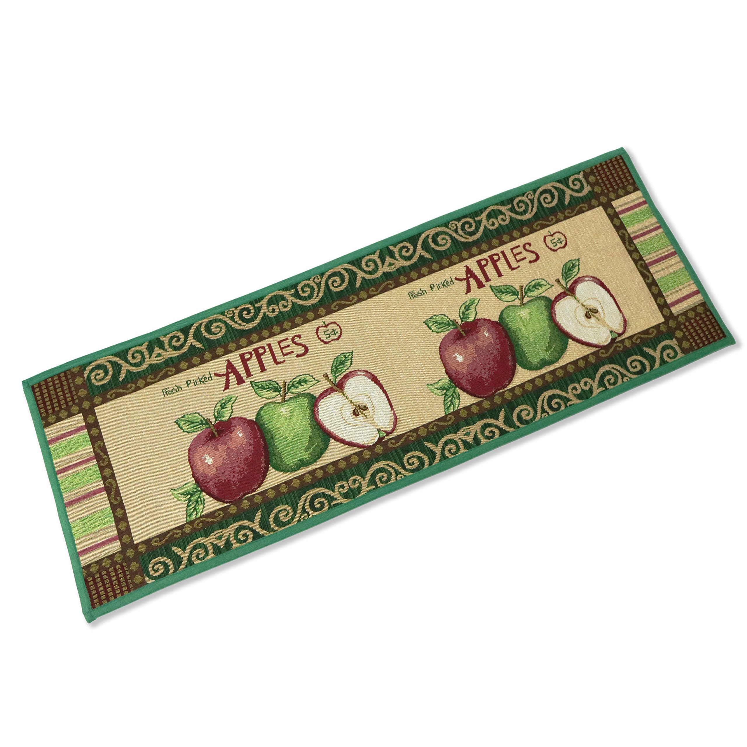 Kitchen Rugs Apple Non Slip Kitchen Mat Extra Long Runner Area Rug for Kitchen Jacquard Bathroom Carpet Printed Floor Rugs,18 x 47 Inches