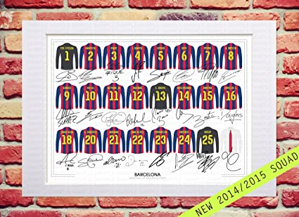 b8d5f55be MOUNTED BARCELONA 2014-2015 SQUAD TEAM PLAYERS NEW SEASON 14 15 SIGNED  AUTOGRAPH WITH PRINTED AUTOGRAPHS ...