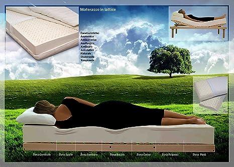 Casatessile Colchón Individual de látex cm 80 x190 con Revestimiento al Aloe Vera