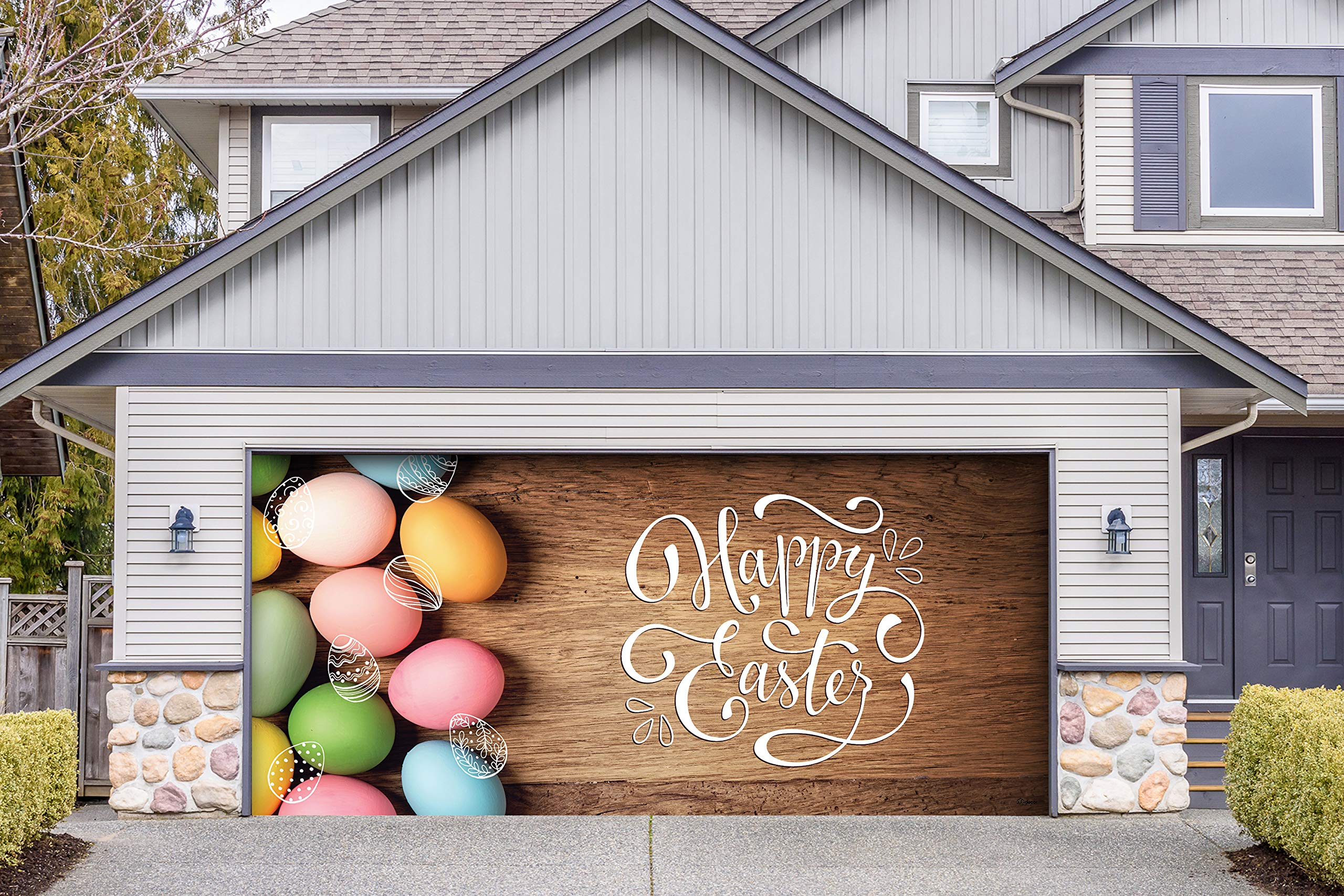 Victory Corps Happy Easter Eggs - Holiday Garage Door Banner Mural Sign Décor 7'x 16' Car Garage - The Original Holiday Garage Door Banner Decor