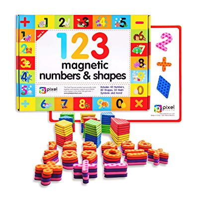 Pixel Premium 123 Magnets - Math Skills Set for Kids Gift Set - 40 Magnetic Numbers, 80 Shapes and 20 Math Problems for Fridge, Dry Erase Magnetic Board and Free e-Book with 40+ Learning & Math Games: Toys & Games