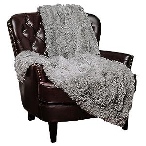 "Chanasya Super Soft Shaggy Longfur Throw Blanket | Snuggly Fuzzy Faux Fur Lightweight Warm Elegant Cozy Plush Sherpa Microfiber Blanket | For Couch Bed Chair Photo Props - 60 ""x 70"" - Grey"