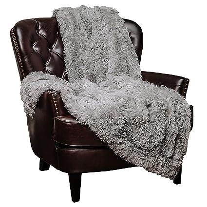 Amazon Chanasya Super Soft Shaggy Longfur Throw Blanket Simple Fuzzy Gray Throw Blanket