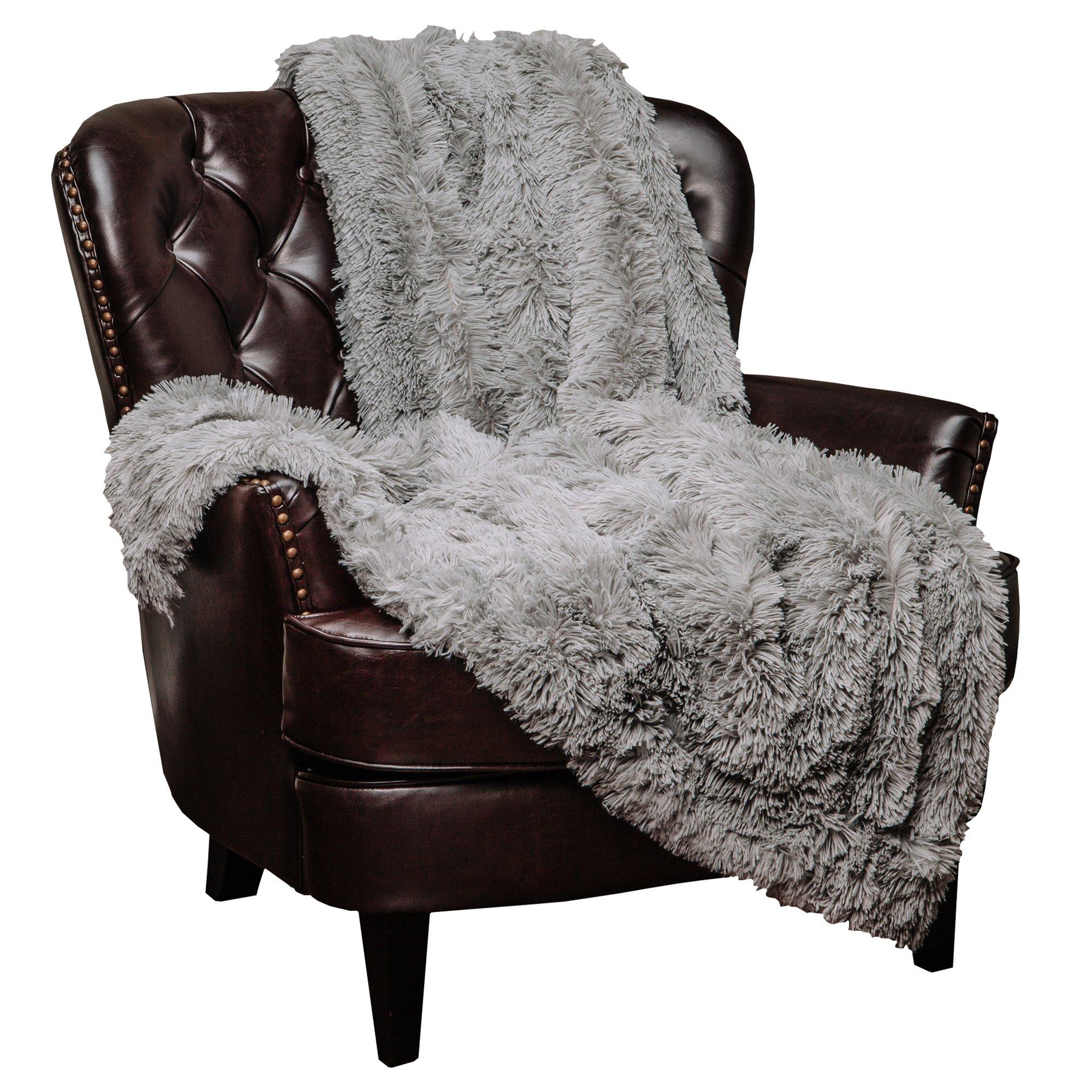 Chanasya Super Soft Shaggy Longfur Throw Blanket   Snuggly Fuzzy Faux Fur Lightweight Warm Elegant Cozy Plush Sherpa Microfiber Blanket   for Couch Bed Chair Photo Props - 50''x 65'' - Grey