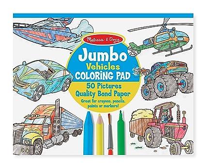 Amazon.com: Melissa & Doug Jumbo Coloring Pad: Vehicles - 50 Pages ...