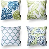 Phantoscope New Living Blue&Green Decorative Throw Pillow Case Cushion Cover Set of 4
