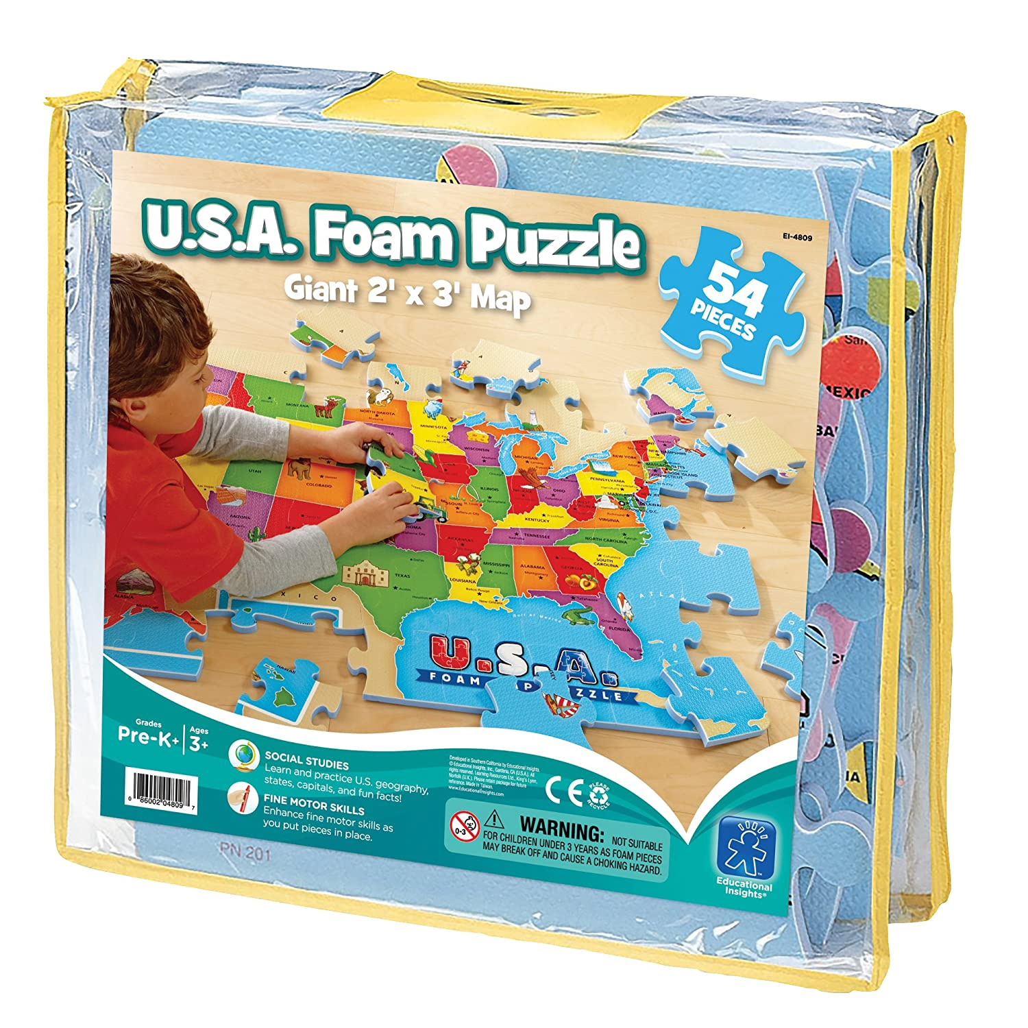 Amazoncom Piece USA Foam Map Puzzle Toys Games - The usa map