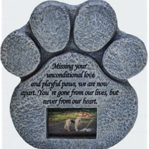 Amazon paw print pet memorial stone pet personalized stone paw print pet memorial stone features a photo frame and sympathy poem indoor workwithnaturefo