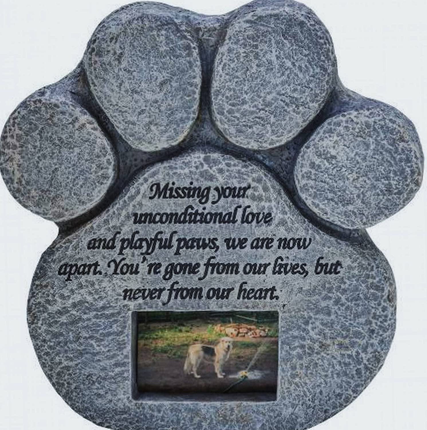 Paw Print Pet Memorial Stone -- Features a Photo Frame and Sympathy Poem - Indoor Outdoor Dog or Cat For Garden Backyard Marker Grave Tombstone - Loss of Pet Gift Pawprints Remembered